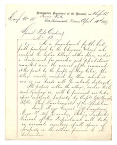 Image of part of Hancock's orders to destroy the Indian village.