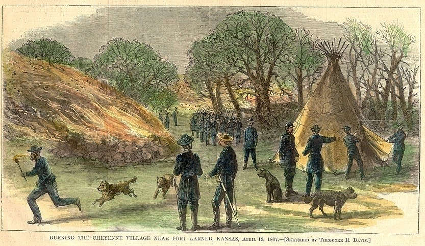 Photo of original drawing in Harper's Weekly depicting the burning of the Indian Village.