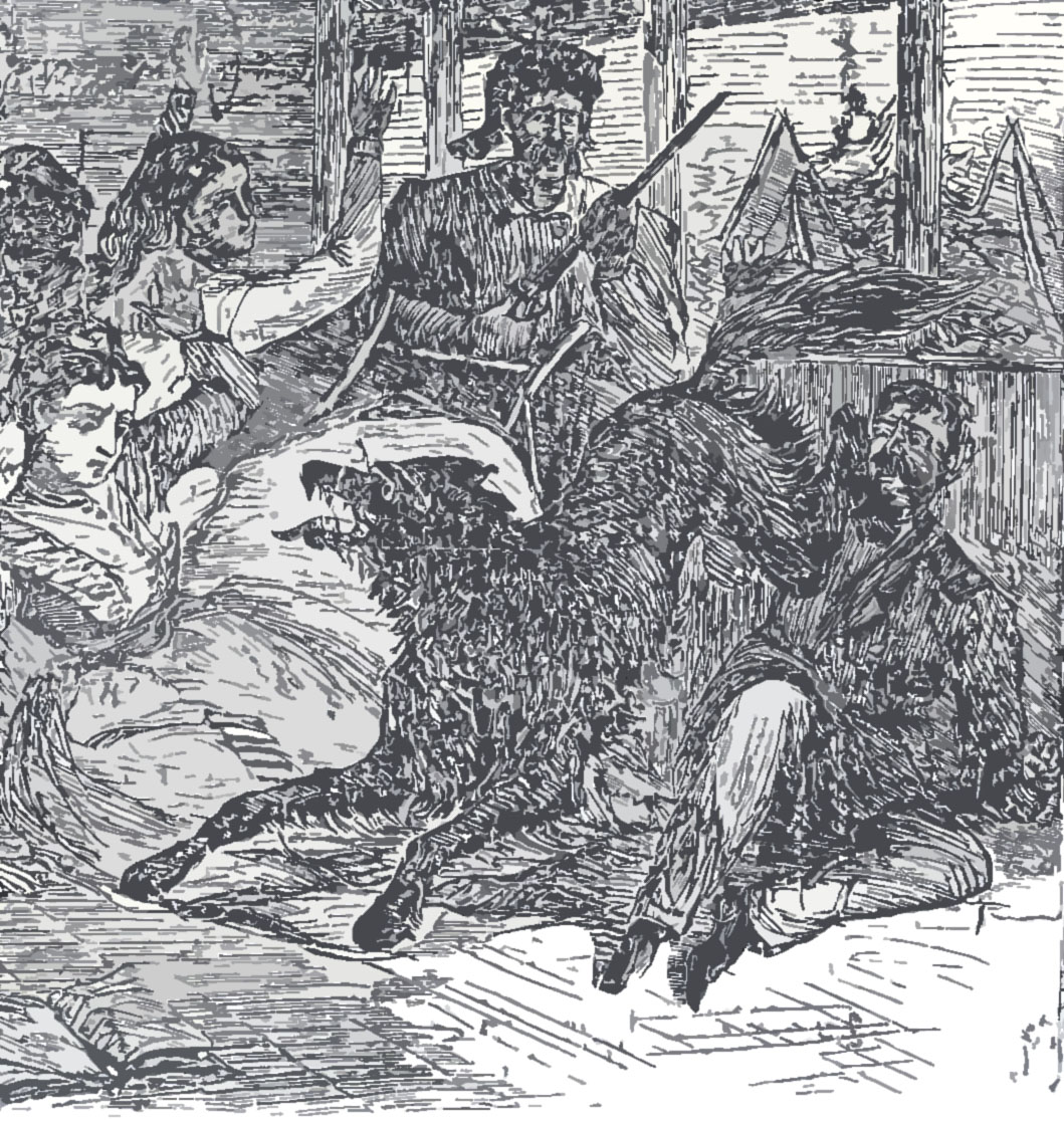 Woodcut image of wolf attacking several people in a building.