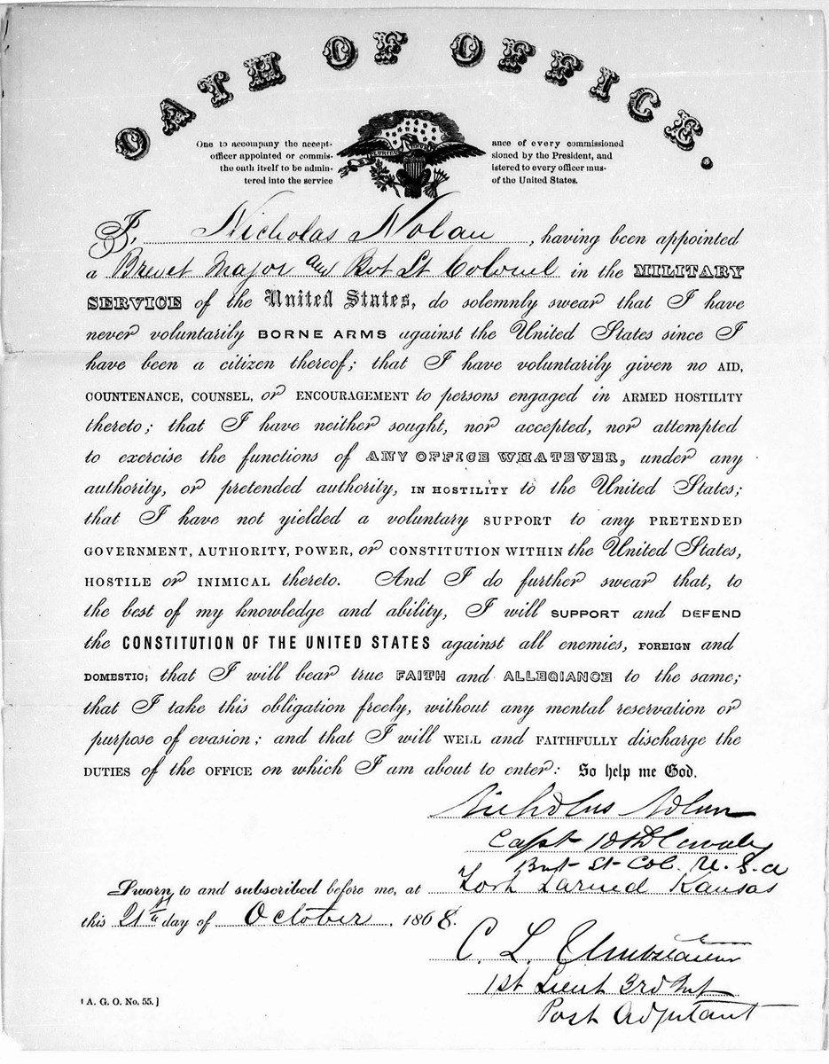 Image of signed oath of office for Capt. Nolan
