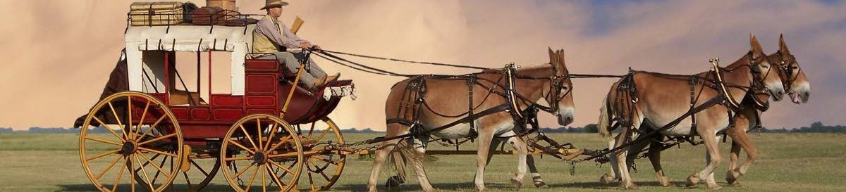 19th century stagecoach pulled by a team of four mules.