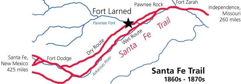 Simple map of the Santa Fe Trail.