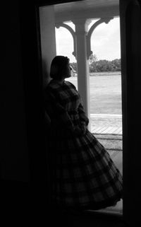 Lady of the Post in Company Officer's Doorway (B&W)