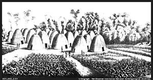 Black & white drawing of 19th century Wichita Indian village.
