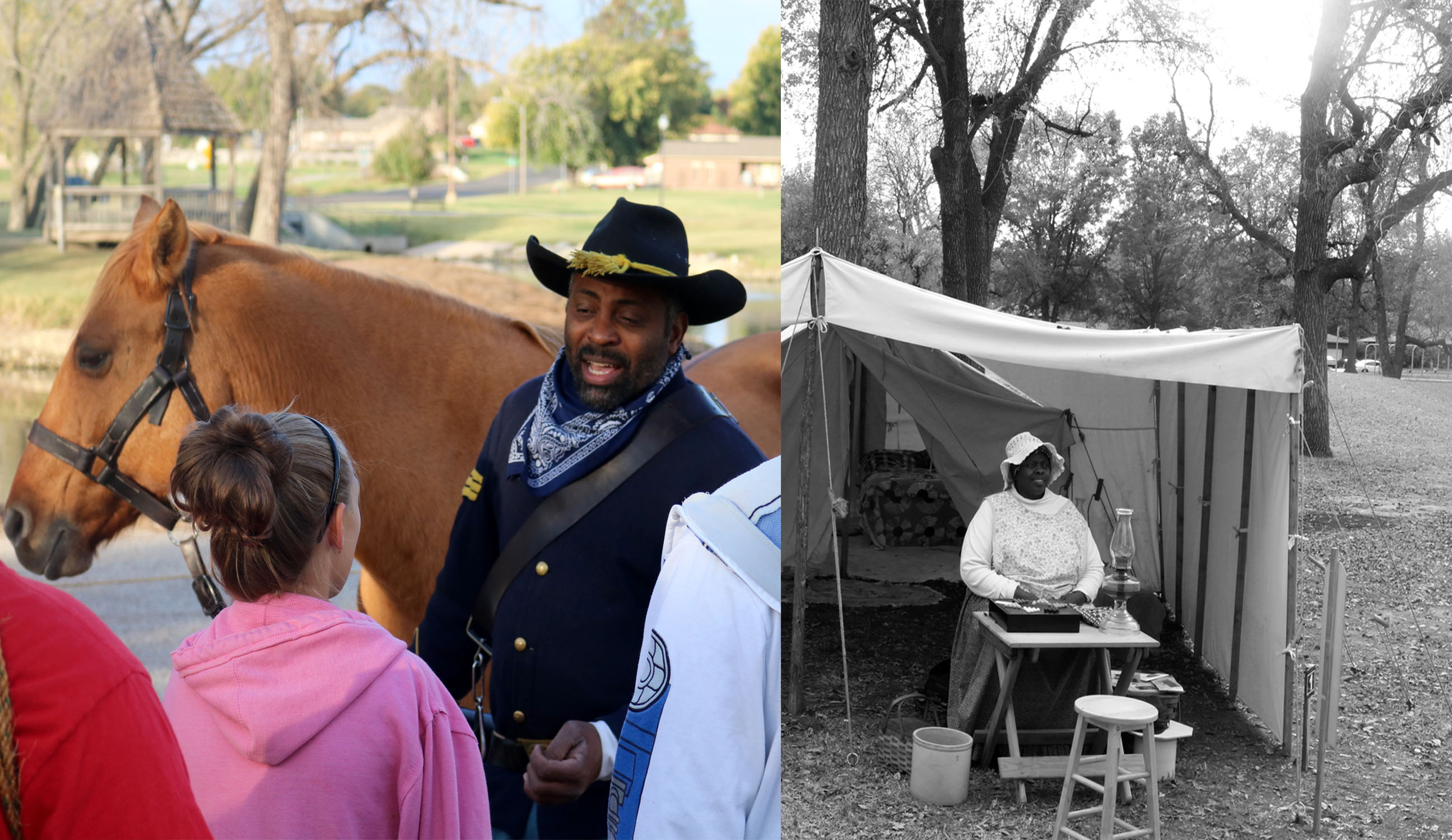 Jay and Esther Clark reenacting the lives of Buffalo Soldiers -- African American soldiers after the Civil War -- and African American civilian employees of the Army.