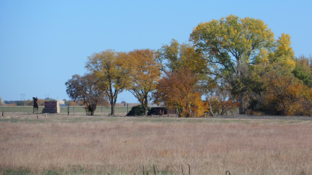 Broadleaf trees are in fall colors around a picnic area and restroom next to a two-lane rural highway.