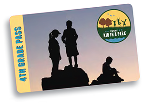 Silhouette of kids on rocks with logo for Every Kid in a Park in upper right corner.  Words 4th Grade Pass along the left edge.