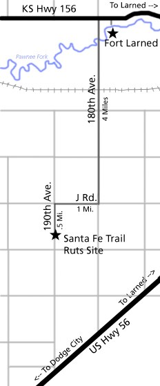 Map to Santa Fe Trail Ruts