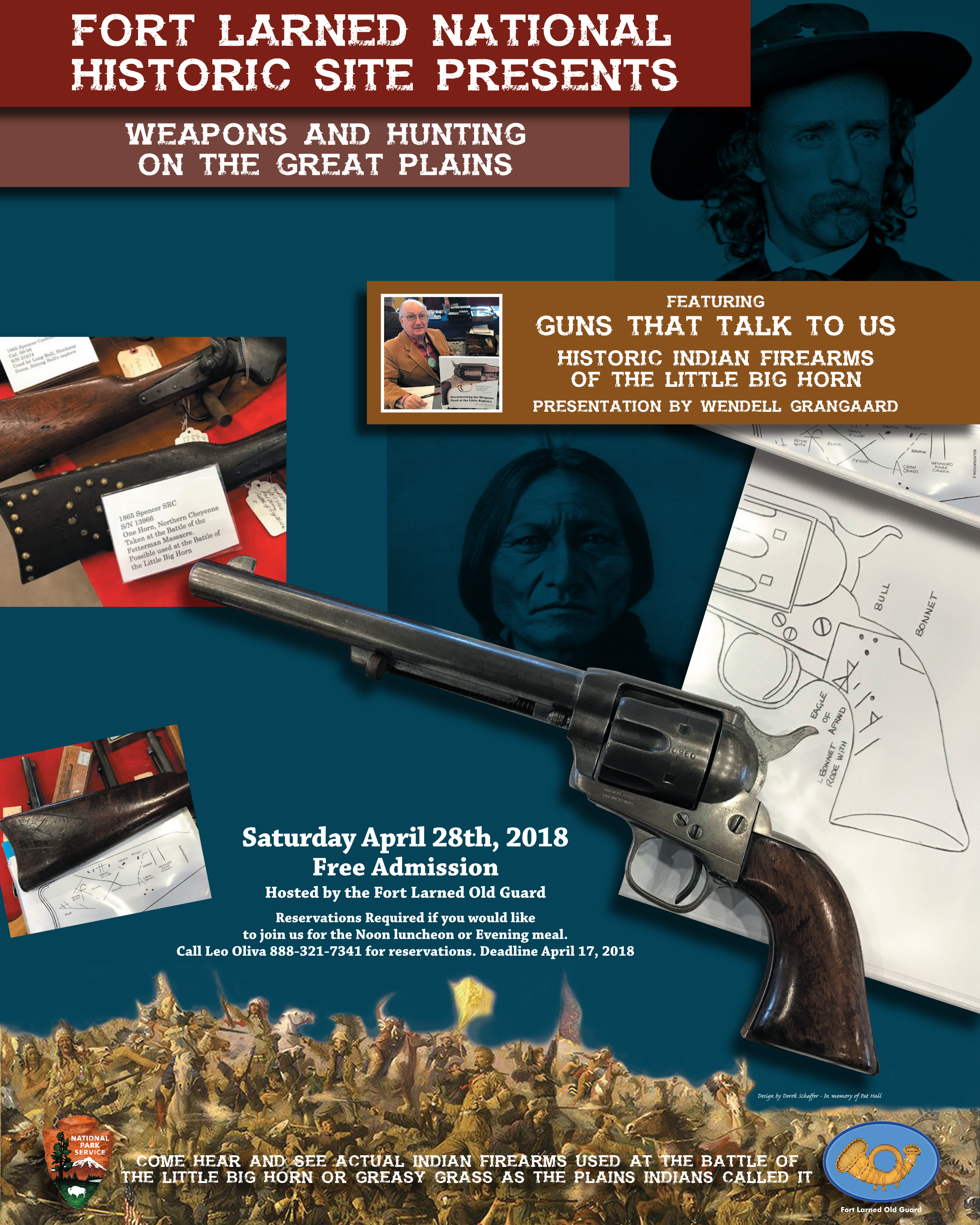 A layout image that shows several images of historic weapons, Sitting Bull, and George Armstrong Custer.