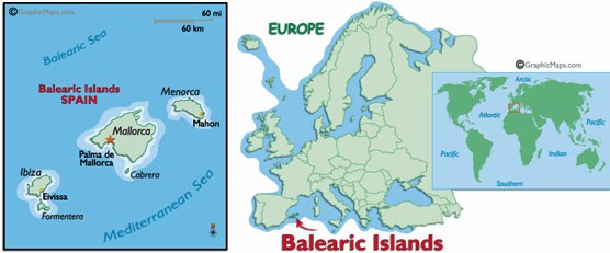 Map showing the Balearic Islands and their location