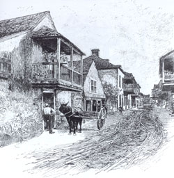 Charlotte Street in St. Augustine, Florida from an old drawing