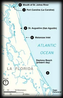 Map Of Florida East Coast.The Massacre Of The French Fort Matanzas National Monument U S