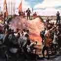 Artist's conception of the massacre of the French Huguenots at Matanzas in 1565.