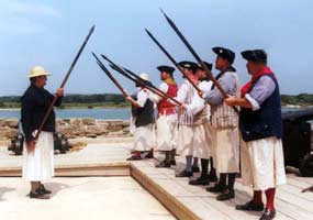 Re-enactors portray British sailors at Fort Matanzas.