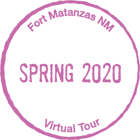 "A purple passport cancellation stamp reading ""Fort Matanzas Spring 2020 Virtual Tour"""