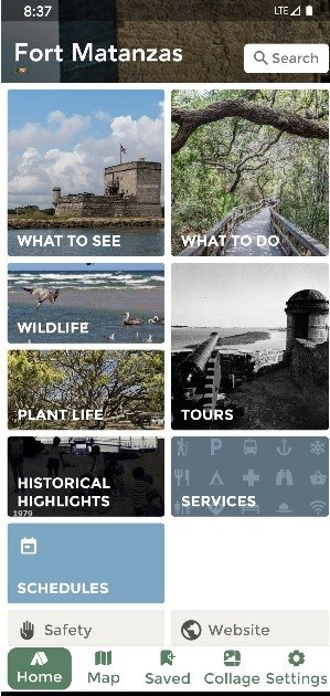 Screen shot of Fort Matanzas Park App home page.
