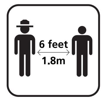 Graphic of a ranger standing 6 feet away from visitor.
