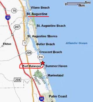 Map Of Florida Showing Daytona Beach.Directions Fort Matanzas National Monument U S National Park