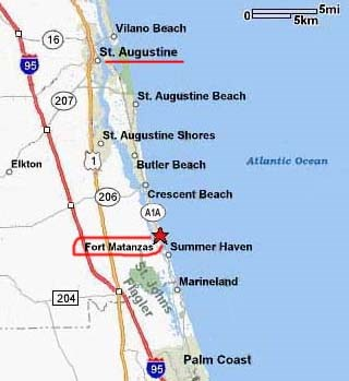 Map St Augustine Florida.Directions Fort Matanzas National Monument U S National Park