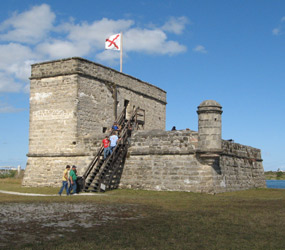 Visitors explore Fort Matanzas