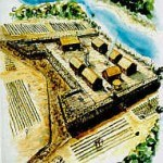 An artist's conception of Fort Mose, the first free, black settlement in North America