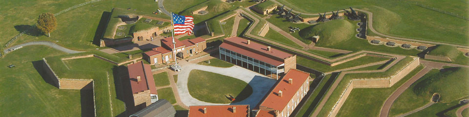 The Garrison Flag flies over Fort McHenry.