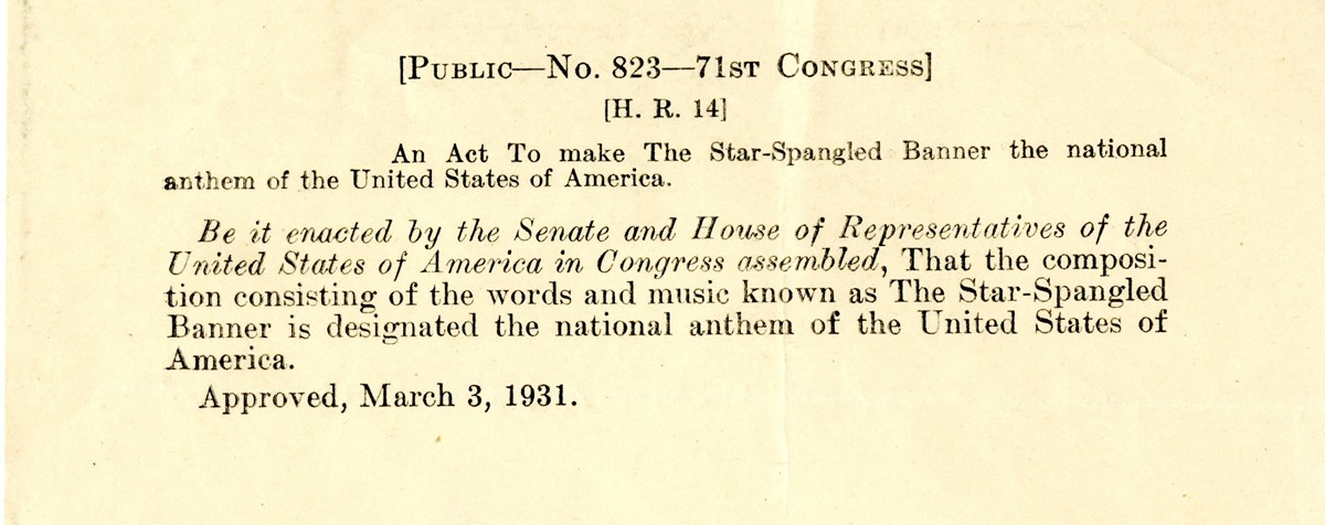 Photograph of the bill that designated the U.S. national anthem
