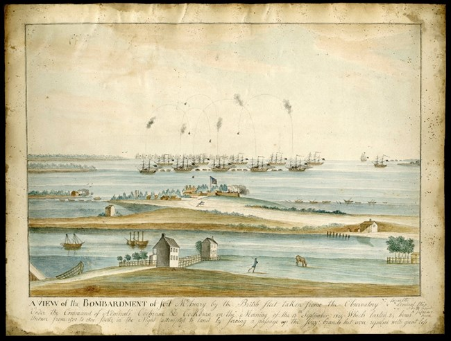 A historic painting depicting british ships firing on Fort McHenry.
