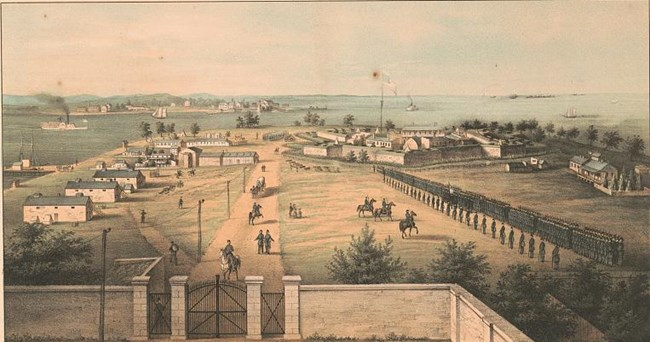 A painting depicting the fort during the Civil War. There are several buildings around the fort and lines of union soldiers.
