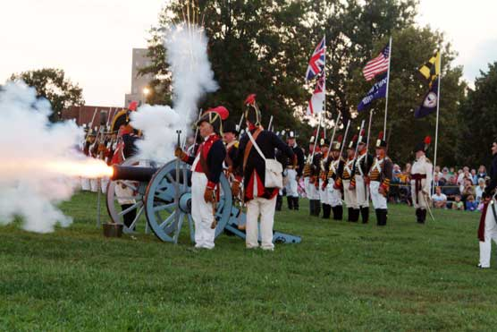 The Fort McHenry Guard advances with artillery during the Defenders Day tactical demonstration.
