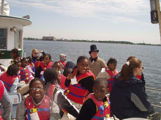 Students on board the Living Classrooms boat