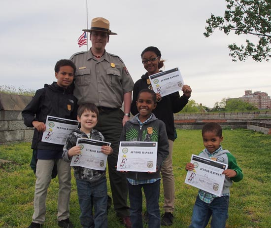Fort Monroe National Monument's first Junior Rangers.