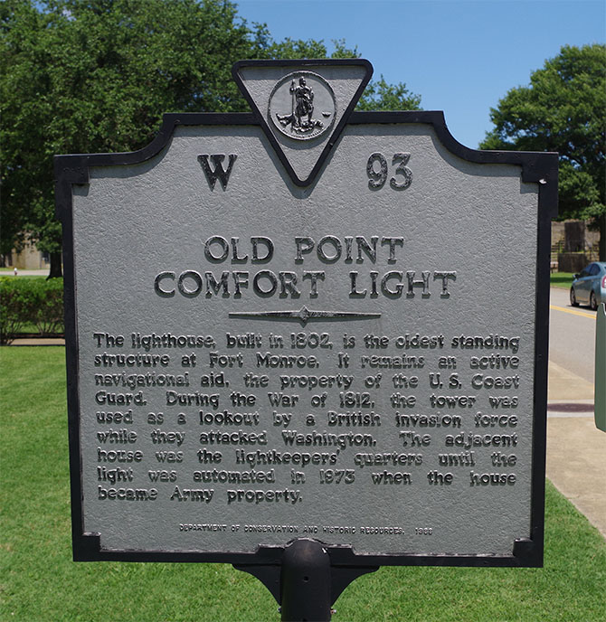 Virginia Historic Marker for the Old Point Comfort Light