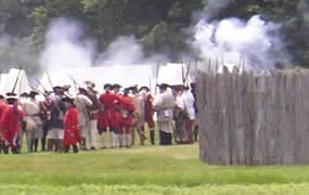 Re-enactors of British troops forming ranks before the battle of Fort Necessity