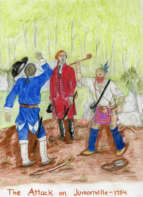 Artwork:  The Half-King attacks Jumonville while Washington looks on.