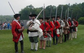 Trent's Company drilling during British encampment at Fort Necessity