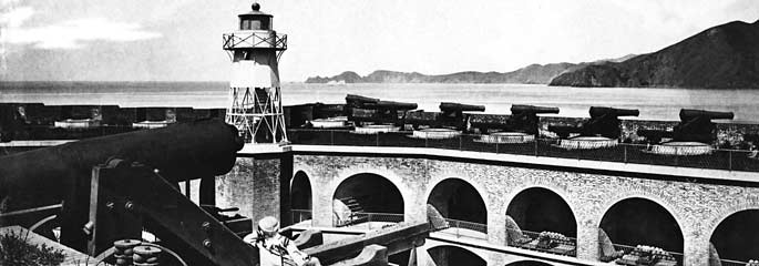 Fort Point in 1870 showing cannons on barbette tier and lighthouse