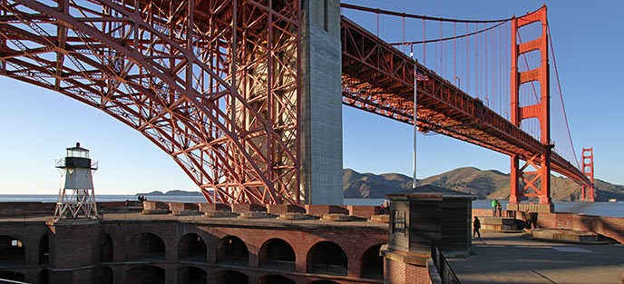 Fort Point barbette tier and Golden Gate Bridge