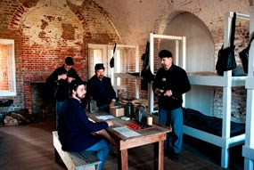 Living history volunteers pose as the Union garrison at Fort Pulaski.