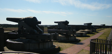 Row of cannon atop Fort Pulaski