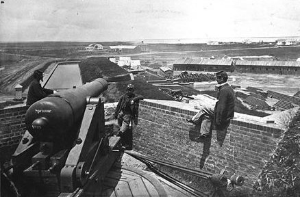 Soldiers atop Fort Pulaski's southwest baation overlooking demilune