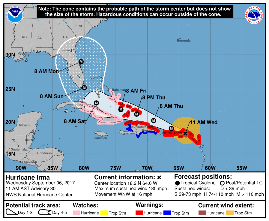 Hurricane Irma Projection Mappf from the National Hurricane Center
