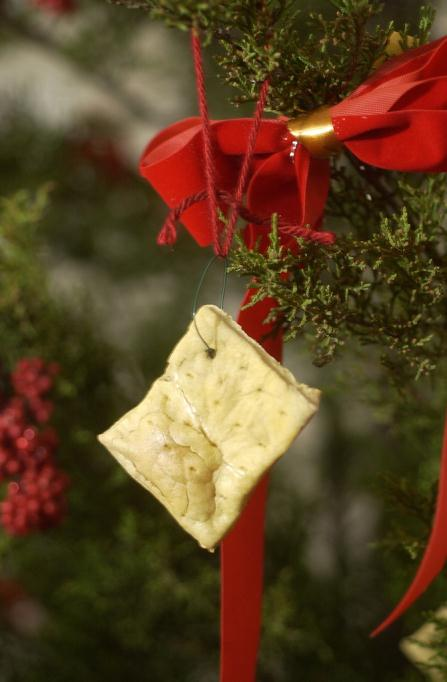 "A holiday ornament made of ""hard tack"", a cracker made from flour, water, and salt."