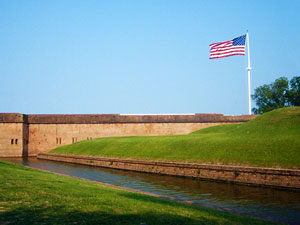 Old Glory flies above Fort Pulaski