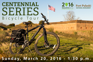 A bicycle is featured in front of Fort Pulaski with text with information about the upcoming Centennial Series event.