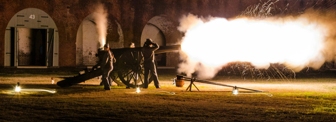 Night time cannon firing at Fort Pulaski