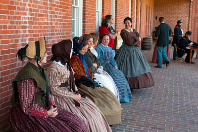 The ladies of Fort Pulaski watch the goings on at Fort Pulaski.