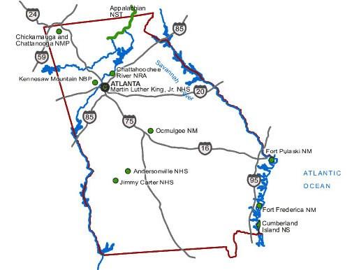 Directions Transportation Fort Pulaski National Monument US - Georgia map directions