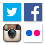 Icons of Twitter, Facebook, Instagram, and Flickr