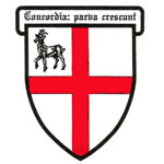 "The emblem of the ""Cittie of Ralegh"" shows a St George's Cross (red cross on white field) representing England, with a small deer in the upper left corner, representing Sir Walter Ralegh."